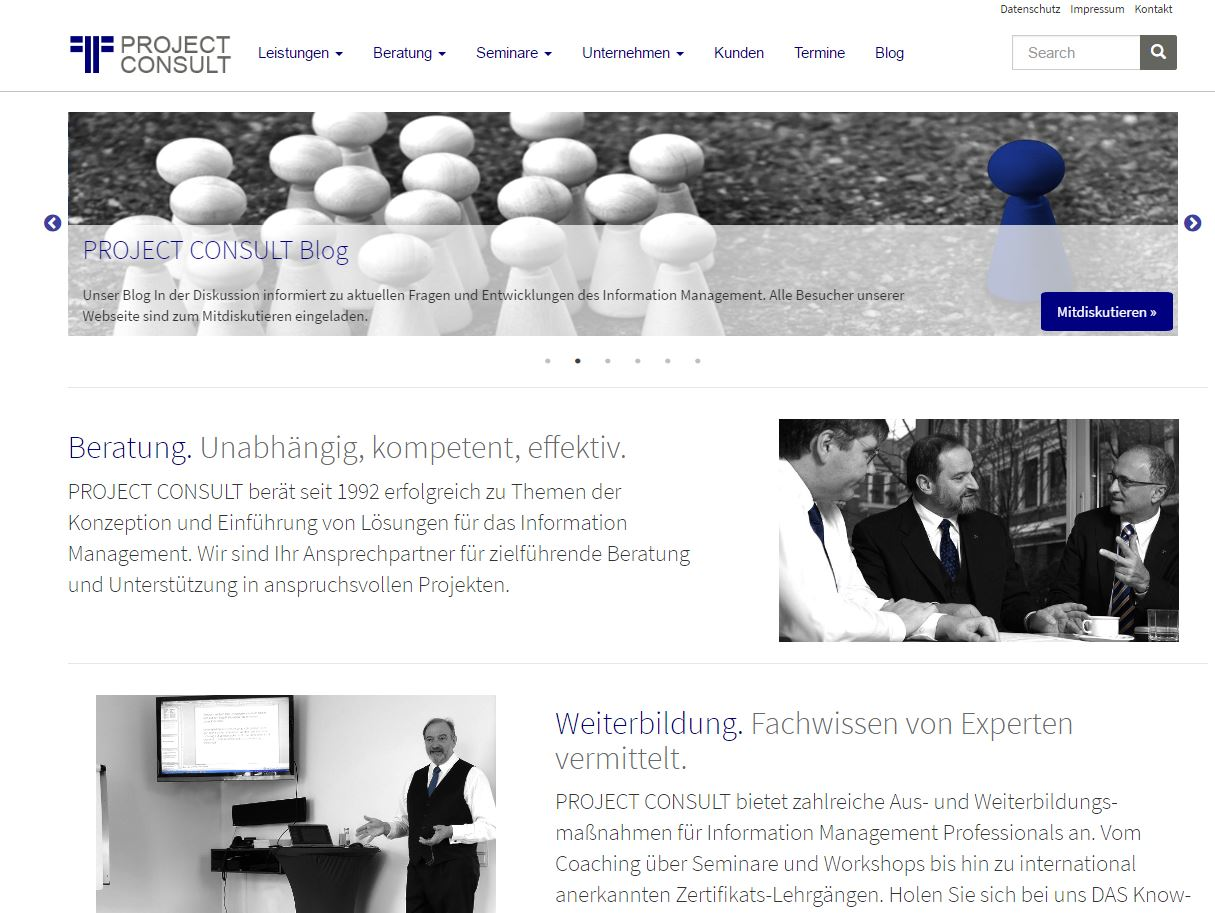 PROJECT CONSULT Webseite Layout ab 2017