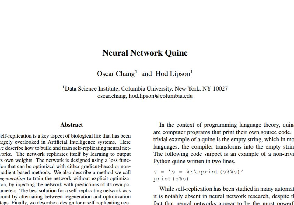 Neural Network Quine - http://bit.ly/SelbstReplikation
