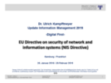 """""""EU Directive on security of network and information systems (NIS Directive)"""" 