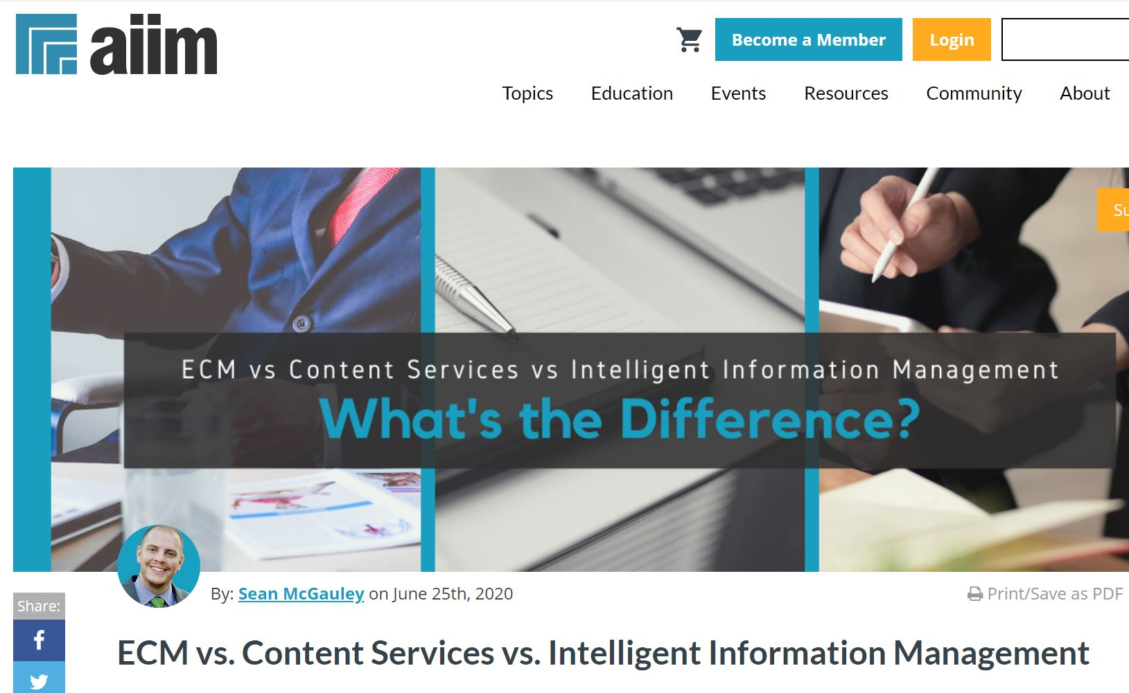 AIIM: ECM vs. Content Services vs. Intelligent Information Management