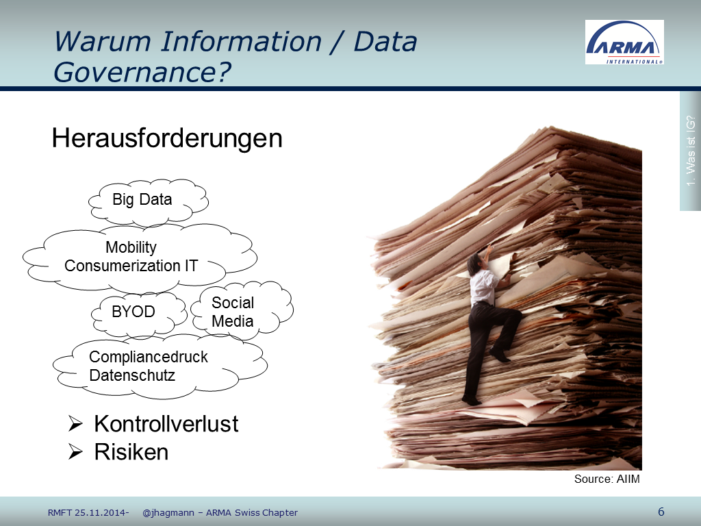 Keynote ARMA Schweiz Inhaltsfolie RMK2014