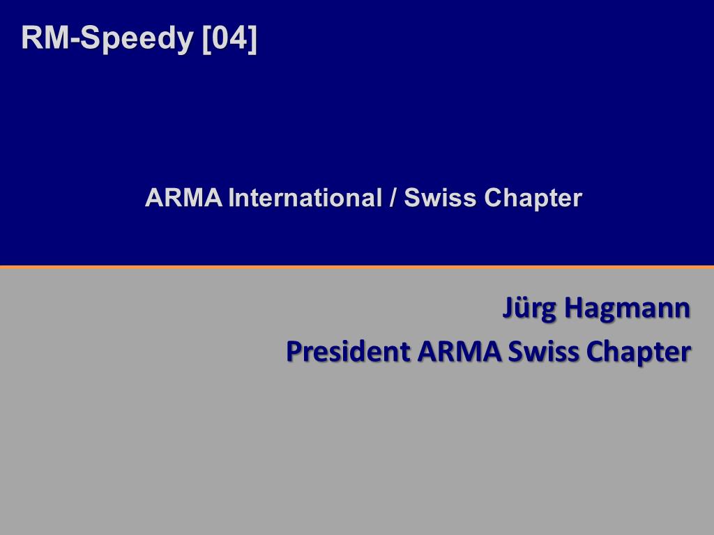 RM-Speedy ARMA Schweiz Titelfolie RMK2014