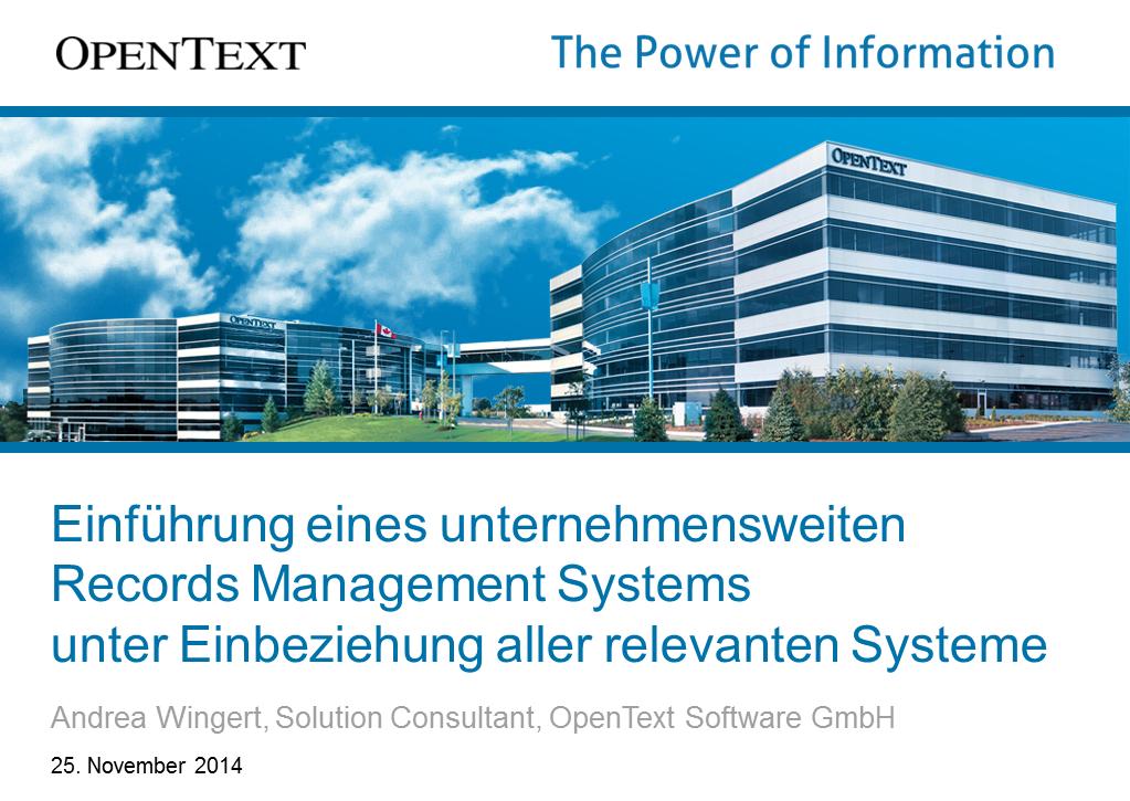 Workshop OpenText RMK2014