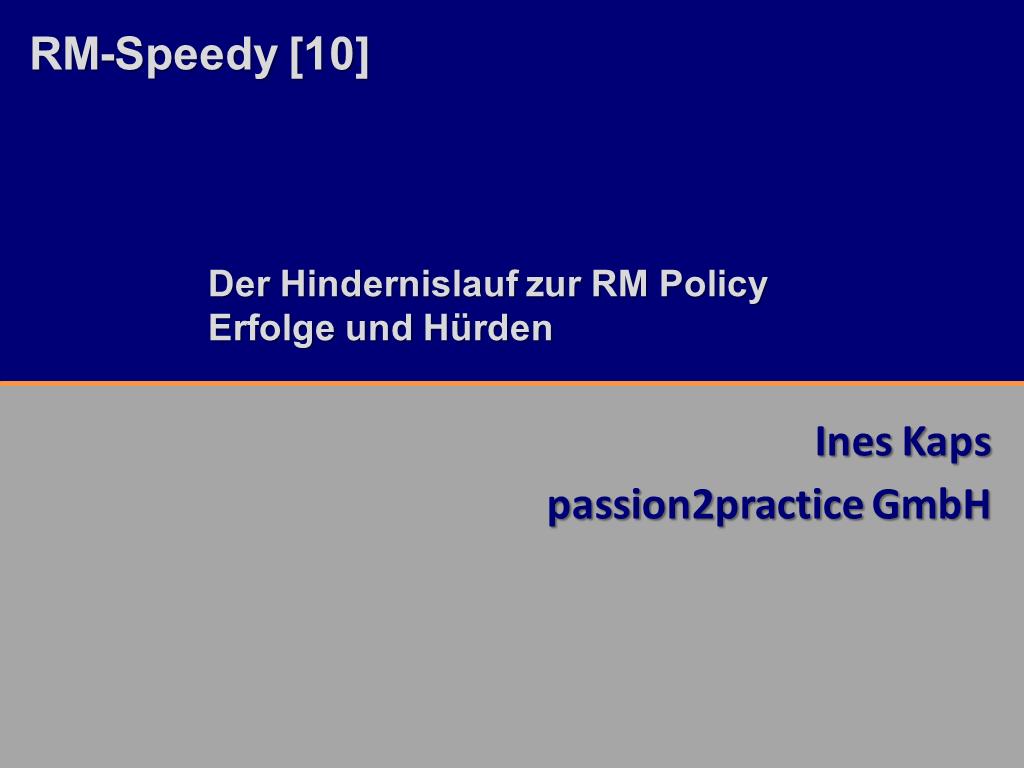 RM-Speedy Passion2Practice Titelfolie RMK2014